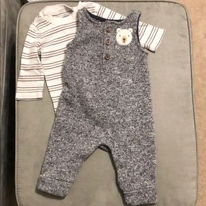 Adorable Gray Polyester Overalls & stripped Shirt